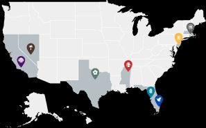 American Addiction Centers Facility Map
